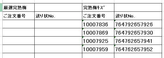 送り状番号 170702完熟梅2