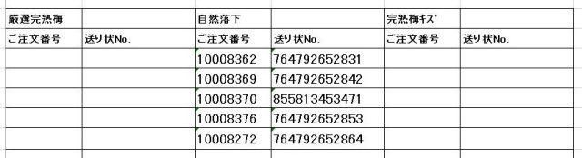 送り状番号 170623完熟梅-2