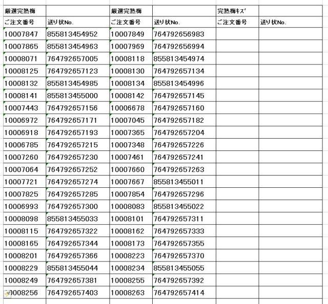 送り状番号 170701完熟梅4